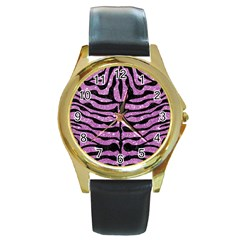 Skin2 Black Marble & Purple Glitter Round Gold Metal Watch by trendistuff