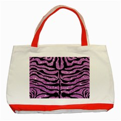 Skin2 Black Marble & Purple Glitter Classic Tote Bag (red) by trendistuff
