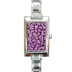 Skin1 Black Marble & Purple Glitter (r) Rectangle Italian Charm Watch by trendistuff