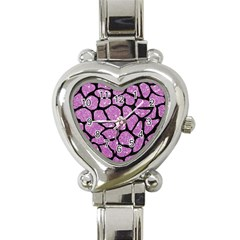 Skin1 Black Marble & Purple Glitter (r) Heart Italian Charm Watch by trendistuff