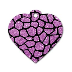 Skin1 Black Marble & Purple Glitter (r) Dog Tag Heart (two Sides) by trendistuff