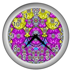 Fantasy Bloom In Spring Time Lively Colors Wall Clocks (silver)  by pepitasart