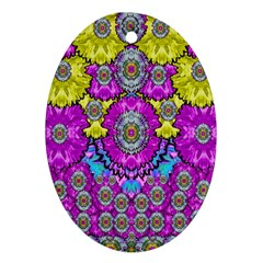 Fantasy Bloom In Spring Time Lively Colors Oval Ornament (two Sides) by pepitasart