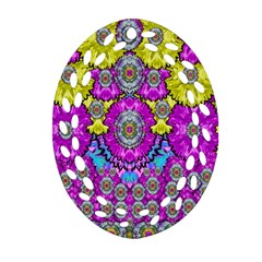 Fantasy Bloom In Spring Time Lively Colors Oval Filigree Ornament (two Sides) by pepitasart