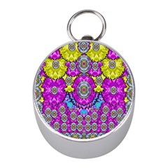 Fantasy Bloom In Spring Time Lively Colors Mini Silver Compasses by pepitasart
