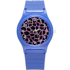 Skin1 Black Marble & Purple Glitter Round Plastic Sport Watch (s) by trendistuff