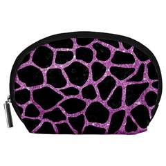 Skin1 Black Marble & Purple Glitter Accessory Pouches (large)  by trendistuff
