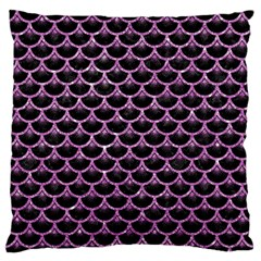 Scales3 Black Marble & Purple Glitter (r) Large Flano Cushion Case (two Sides) by trendistuff