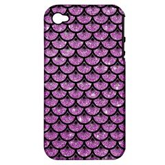 Scales3 Black Marble & Purple Glitter Apple Iphone 4/4s Hardshell Case (pc+silicone) by trendistuff