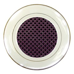 Scales2 Black Marble & Purple Glitter (r) Porcelain Plates by trendistuff