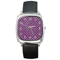 Scales2 Black Marble & Purple Glitter Square Metal Watch by trendistuff