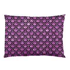 Scales2 Black Marble & Purple Glitter Pillow Case