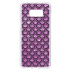 Scales2 Black Marble & Purple Glitter Samsung Galaxy S8 Plus White Seamless Case by trendistuff