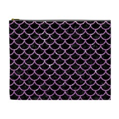 Scales1 Black Marble & Purple Glitter (r) Cosmetic Bag (xl) by trendistuff