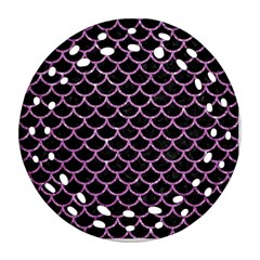 Scales1 Black Marble & Purple Glitter (r) Round Filigree Ornament (two Sides) by trendistuff
