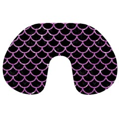 Scales1 Black Marble & Purple Glitter (r) Travel Neck Pillows by trendistuff