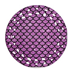 Scales1 Black Marble & Purple Glitter Round Filigree Ornament (two Sides) by trendistuff