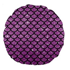 Scales1 Black Marble & Purple Glitter Large 18  Premium Round Cushions by trendistuff