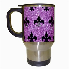 Royal1 Black Marble & Purple Glitter (r) Travel Mugs (white) by trendistuff