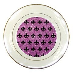 Royal1 Black Marble & Purple Glitter (r) Porcelain Plates by trendistuff