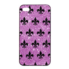 Royal1 Black Marble & Purple Glitter (r) Apple Iphone 4/4s Seamless Case (black) by trendistuff