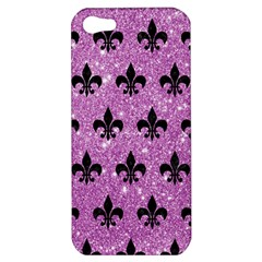 Royal1 Black Marble & Purple Glitter (r) Apple Iphone 5 Hardshell Case by trendistuff