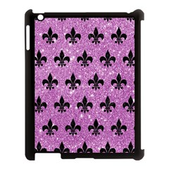 Royal1 Black Marble & Purple Glitter (r) Apple Ipad 3/4 Case (black) by trendistuff