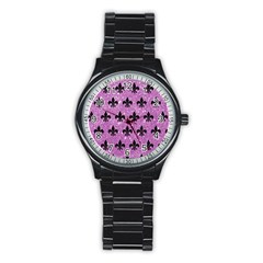 Royal1 Black Marble & Purple Glitter (r) Stainless Steel Round Watch by trendistuff