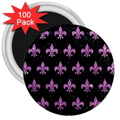 Royal1 Black Marble & Purple Glitter 3  Magnets (100 Pack) by trendistuff