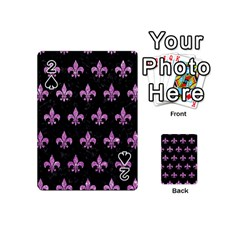 Royal1 Black Marble & Purple Glitter Playing Cards 54 (mini)  by trendistuff