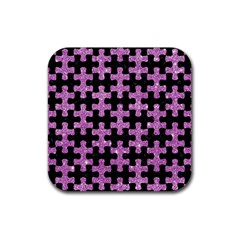 Puzzle1 Black Marble & Purple Glitter Rubber Square Coaster (4 Pack)  by trendistuff