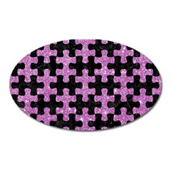 Puzzle1 Black Marble & Purple Glitter Oval Magnet by trendistuff