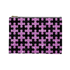 Puzzle1 Black Marble & Purple Glitter Cosmetic Bag (large)  by trendistuff