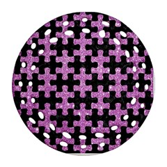 Puzzle1 Black Marble & Purple Glitter Round Filigree Ornament (two Sides) by trendistuff