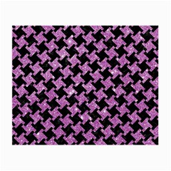 Houndstooth2 Black Marble & Purple Glitter Small Glasses Cloth (2 Side) by trendistuff