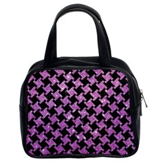 Houndstooth2 Black Marble & Purple Glitter Classic Handbags (2 Sides) by trendistuff