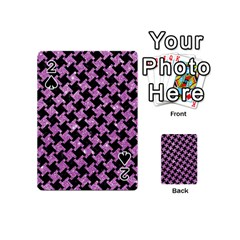 Houndstooth2 Black Marble & Purple Glitter Playing Cards 54 (mini)  by trendistuff