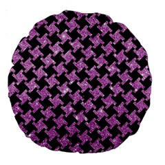 Houndstooth2 Black Marble & Purple Glitter Large 18  Premium Round Cushions by trendistuff