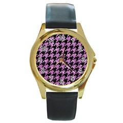 Houndstooth1 Black Marble & Purple Glitter Round Gold Metal Watch by trendistuff