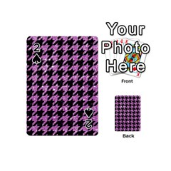 Houndstooth1 Black Marble & Purple Glitter Playing Cards 54 (mini)  by trendistuff