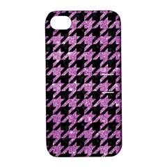 Houndstooth1 Black Marble & Purple Glitter Apple Iphone 4/4s Hardshell Case With Stand by trendistuff
