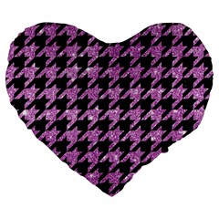 Houndstooth1 Black Marble & Purple Glitter Large 19  Premium Flano Heart Shape Cushions