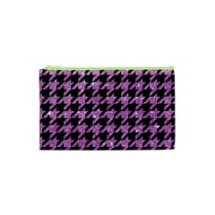 Houndstooth1 Black Marble & Purple Glitter Cosmetic Bag (xs) by trendistuff