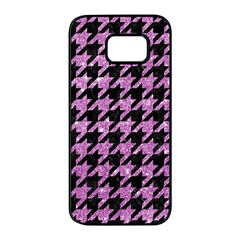 Houndstooth1 Black Marble & Purple Glitter Samsung Galaxy S7 Edge Black Seamless Case by trendistuff