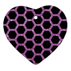 Hexagon2 Black Marble & Purple Glitter (r) Heart Ornament (two Sides) by trendistuff