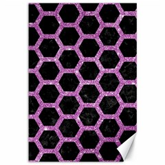 Hexagon2 Black Marble & Purple Glitter (r) Canvas 12  X 18   by trendistuff