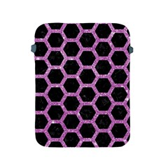 Hexagon2 Black Marble & Purple Glitter (r) Apple Ipad 2/3/4 Protective Soft Cases by trendistuff