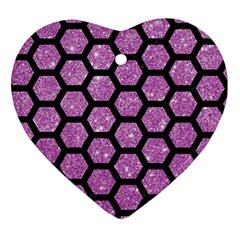 Hexagon2 Black Marble & Purple Glitter Ornament (heart)