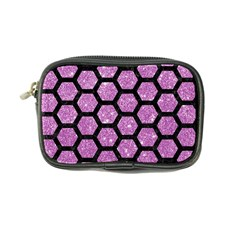 Hexagon2 Black Marble & Purple Glitter Coin Purse by trendistuff