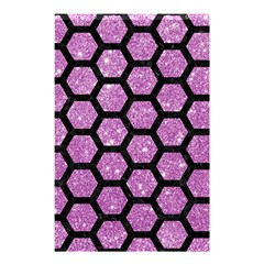 Hexagon2 Black Marble & Purple Glitter Shower Curtain 48  X 72  (small)  by trendistuff